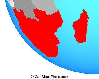 Southern Africa on globe