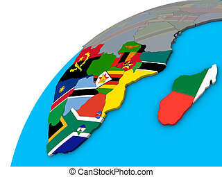 Southern Africa with flags on 3D globe
