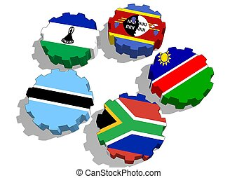 Southern African Customs Union members national flags
