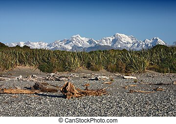 Southern Alps mountains in South Island, New Zealand. Snowy peaks with Mt Cook.