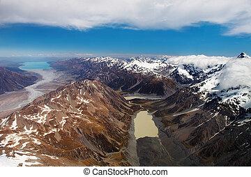 Southern Alps, New Zealand, bird's-eye view