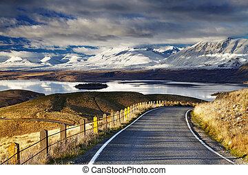 Southern Alps and Lake Tekapo, view from Mount John, Mackenzie Country, New Zealand