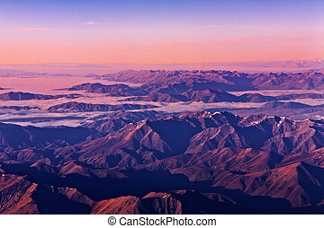 Southern Alps at sunrise, New Zealand, aerial shot