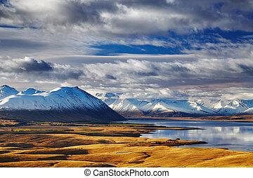 Southern Alps, New Zealand - Southern Alps and Lake Tekapo,...