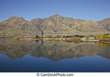 Mountain reflection of the southern alps in New Zealand.