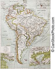 Southern America - Souther America old map with Rio de la...