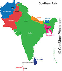 Southern Asia map - Color map of Southern Asia divided by ...
