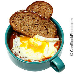 Southern Breakfast, Over Easy Fried Egg with Baked Beans and...