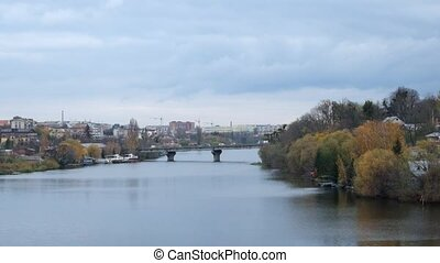 Southern Bug River and a view of the Old City Bridge in the late autumn period (Ukraine, Vinnitsa)