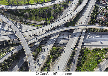 Aerial view of the 118 and Golden State 5 and freeway interchange in Los Angeles California.