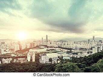 Southern Chinese city of Shenzhen, dusk landscape.