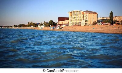 Southern coast of Azov sea in summer view Of The hotel on the beach