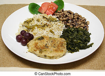 Southern cooking - Rice and gravy on a plate, with smothered...