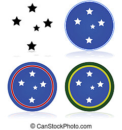 Southern cross - Icon set showing a stylized version of the...