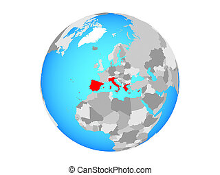 Southern Europe on globe isolated