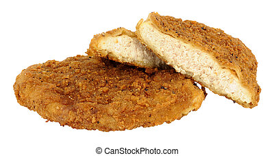 Southern Fried Chicken Breasts - Two bread crumb coated...