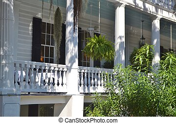 Southern Front Porch Detail - Detail of a traditional front...