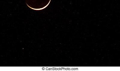 Southern Half-moon in Night Black Sky