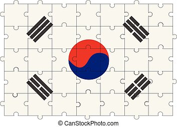 southern Korea flag in form of puzzle