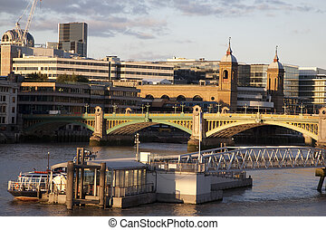 Southwark Bridge on the River Thames and Cannon Street...