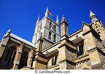 Southwark Cathedral stands at the south end of London...