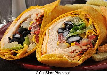 Southwest Chipotle Chicken Wrap - Closeup of a chicken wrap...