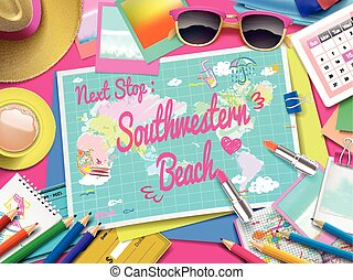 Southwestern Beach on map, top view of colorful travel essentials on table