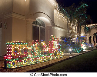 Christmas Decorated Carport Large Carport On Spanish Style House Decorated For Christmas Night Image Exposed To Bring Canstock