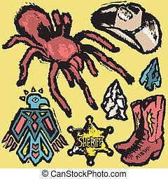 Southwestern Grunge - Grungy, southwestern style clip art...