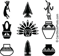 Southwestern Native Artifact Icons - Vector illustration...