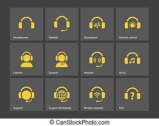 soutien, écouteurs, icons.