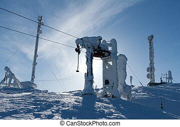 soutien, ascenseur, ski