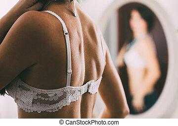 soutien, branca, frente, mulher, espelho