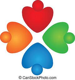 soutien, collaboration, logo, cœurs
