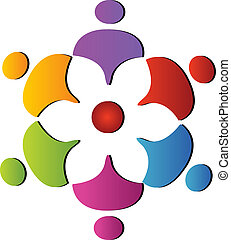 soutien, collaboration, logo, fleur