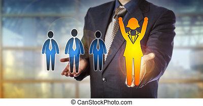 soutien, employé, employeur, femme, enjôleur