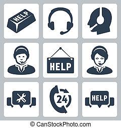 soutien, ensemble, centre, icônes, vecteur, appeler