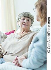 soutien, femme, vieux