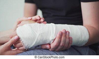 soutien, gypsum., soin, patient, rééducation, blessure, ...