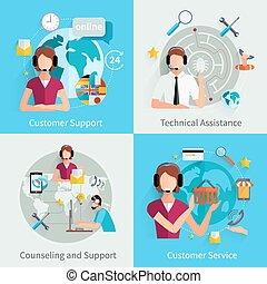 soutien, icônes, carrée, 4, plat, client