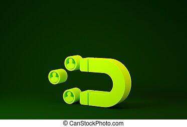soutien, illustration, concept., icône, minimalisme, arrière-plan., vert, gens, client, jaune, 3d, magnet., isolé, render, attirer, rétention, service.