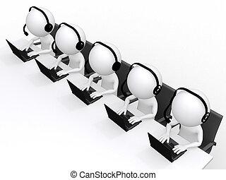 soutien, isolé, homme, centre, 3d, blanc