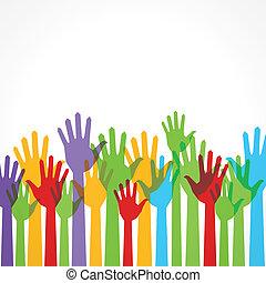 soutien, main haut, coloré