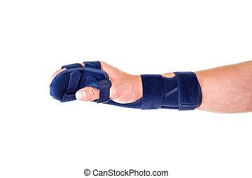soutien, main, poignet, emballé, attache, homme
