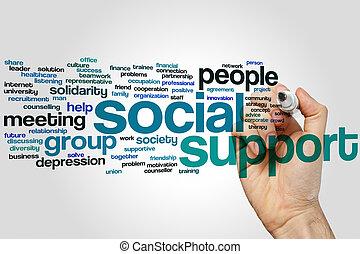 soutien, nuage, social, mot