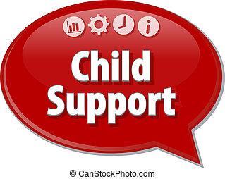 soutien, parole, business, bulle, illustration, enfant, terme