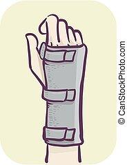 soutien, poignet, illustration, main