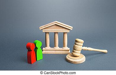soutien, provocateur, tribunal, relations., avocat, justice, droits, résolution, business, protection, légal, services., appeal., règle, deux, décision, tribunal, law., conflit, opponents.