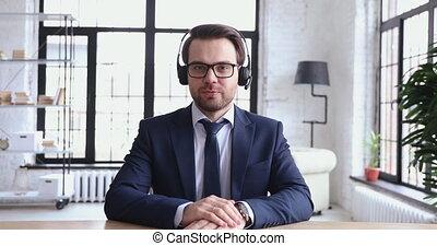 soutien, service, confiant, représentant, usures, casque à écouteurs, webcam, conversation