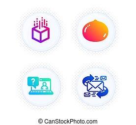 soutien, vecteur, e-mail, écrou, toile, virtuel, végétarien, set., réalité, macadamia, augmented, icônes, faq, nourriture., signe.